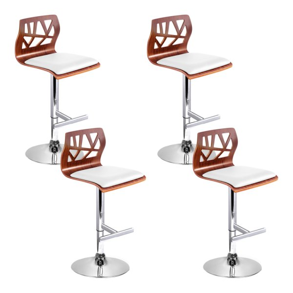Artiss Set of 4 Wooden Gas Lift Bar Stools - White and Wood
