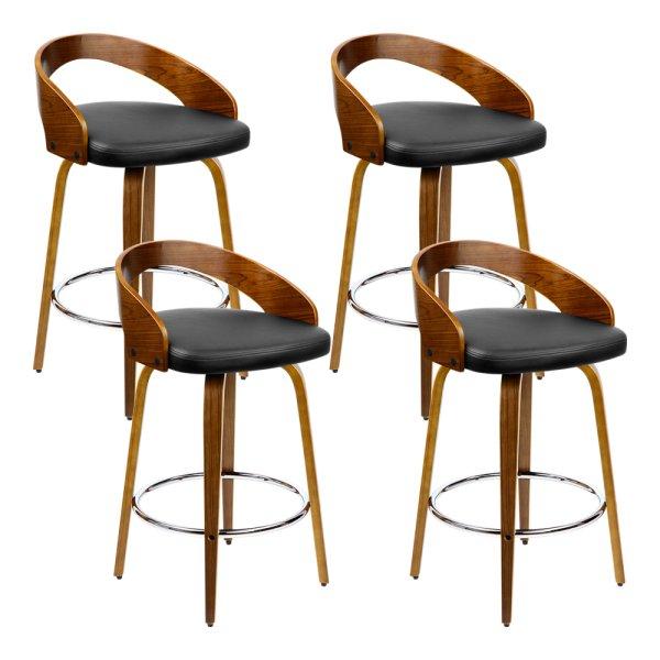 Artiss Set of 4 Walnut Wood Bar Stools - Black and Brown