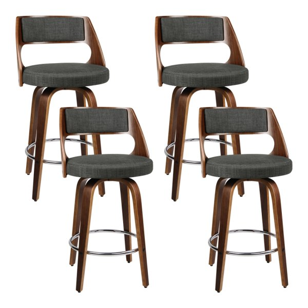 Artiss Set of 4 Wooden Swivel Bar Stools - Charcoal, Wood and Chrome