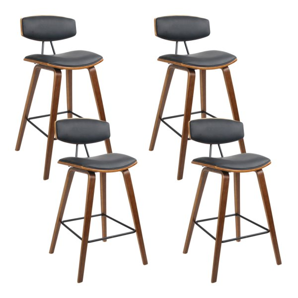Artiss Set of 4 PU Leather Circular Footrest Bar Stools - Black