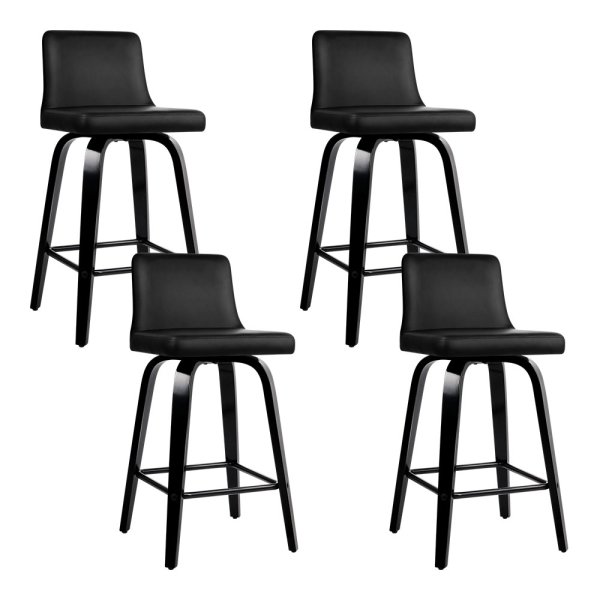 Artiss Set of 4 Wooden PU Leather Bar Stool - Black
