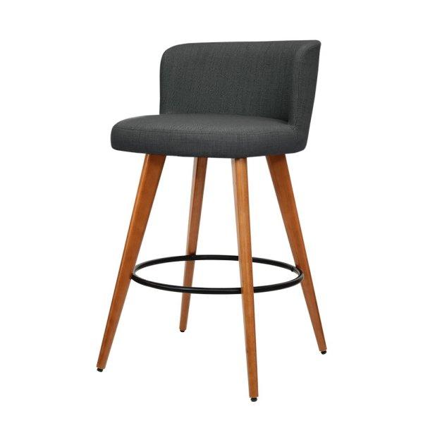 Artiss Set of 4 Wooden Fabric Bar Stools Circular Footrest - Charcoal