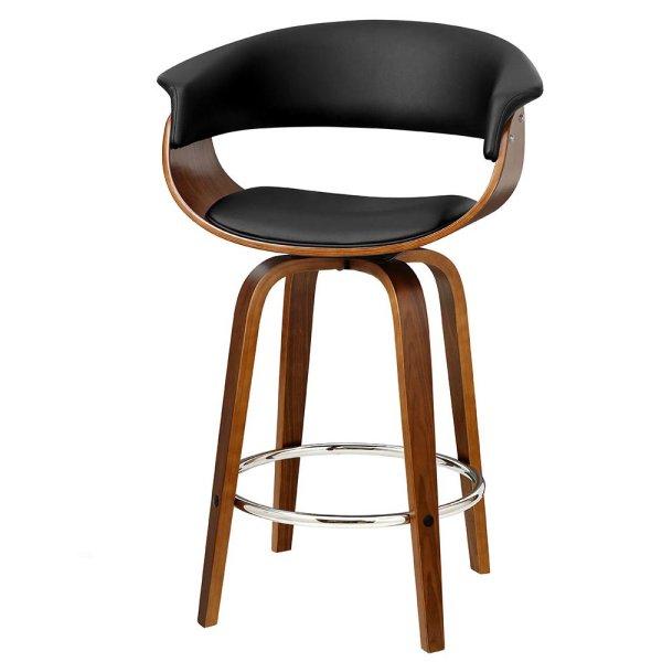 Artiss Set of 4 Swivel PU Leather Bar Stool - Wood and Black