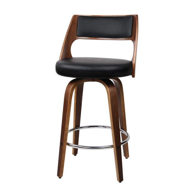 Artiss Set of 4 Wooden Bar Stools PU Leather - Black and Wood