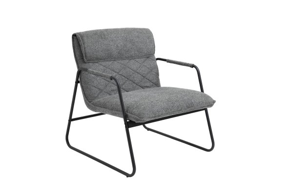 Grey Linen Upholstered Armchair Lounge Chair with Sled Base