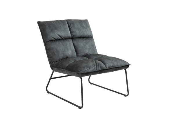 Wrought Iron Grey Slipper Accent Chair Lounge Chair Polyester Fabric Sled Base