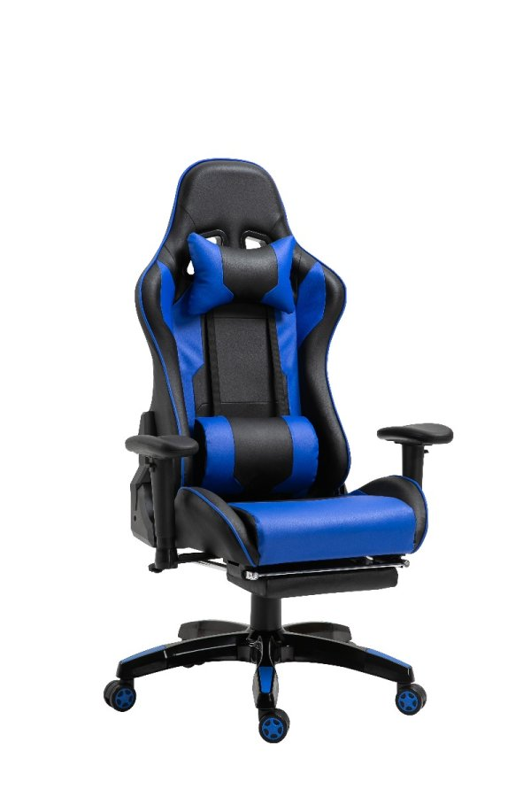 Gaming Chair Office Chair Computer PU Executive Recliner Back Footrest Armrest Black and Blue