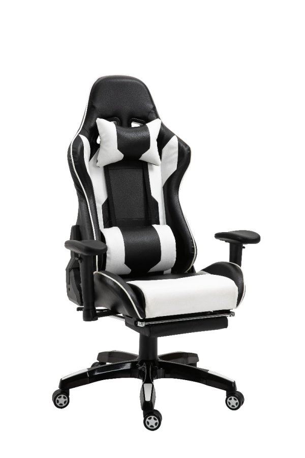 Gaming Chair Office Chair Computer PU Executive Recliner Back Footrest Armrest Black and White