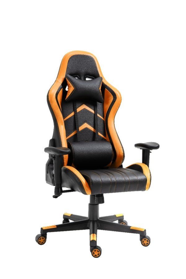 Gaming Chair Office Chair Computer PU Executive Racing Recliner Backrest Armrest Black and Orange