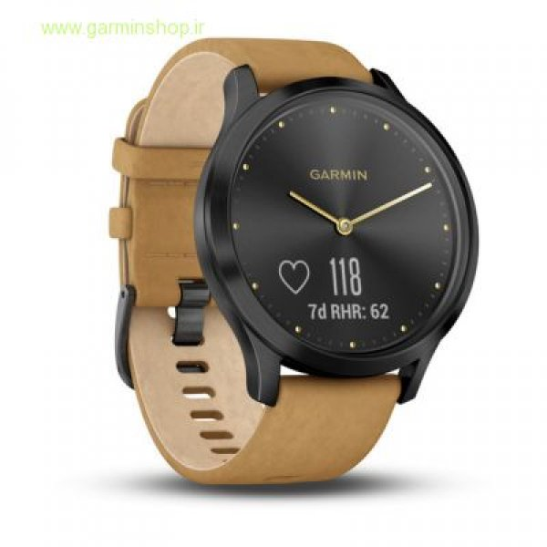 VivoMove HR Premium Onyx Black Stainless Steel Case with Tan Suede Band - One Size Fits Most