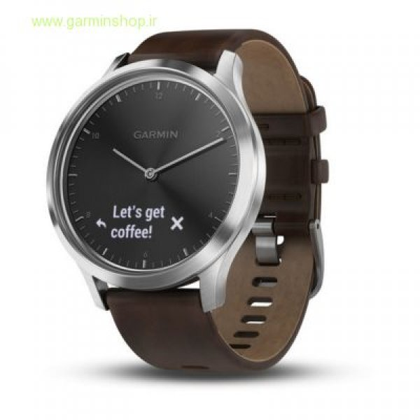 VivoMove HR Premium Silver with Dark Brown Leather Band - Large