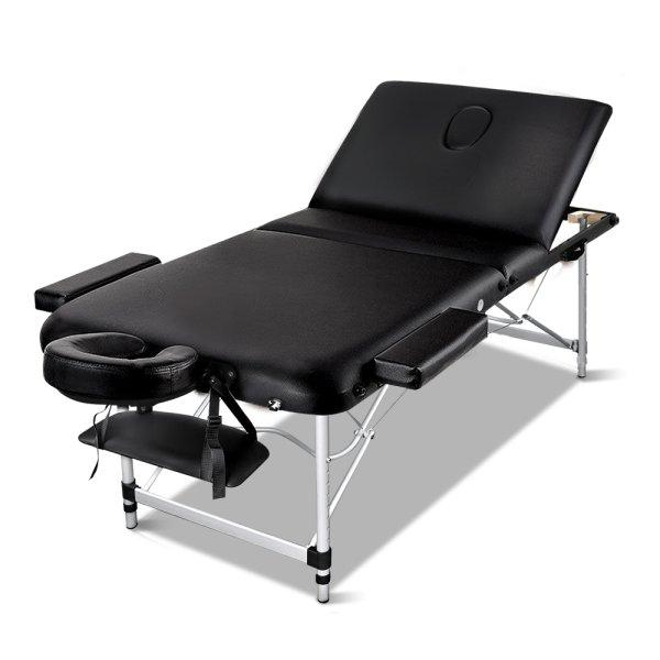 Zenses 3 Fold Portable Aluminium Massage Table - Black