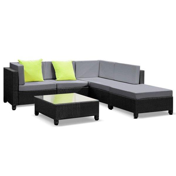 Gardeon 6PC Sofa Set Lounge Setting Outdoor Furniture Wicker Couches Garden Patio Pool