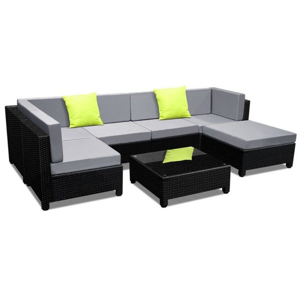 Gardeon 7PC Sofa Set Outdoor Furniture Lounge Setting Wicker Couches Garden Patio Pool