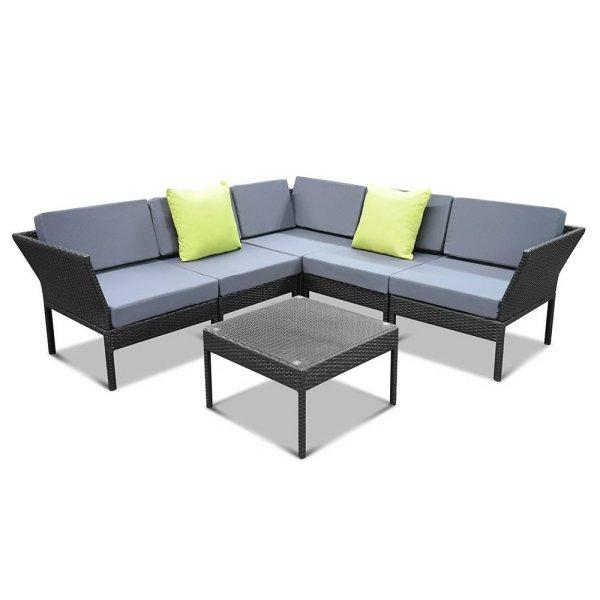Gardeon 6PC Sofa Set Outdoor Furniture Lounge Setting Wicker Couches Garden Patio Pool