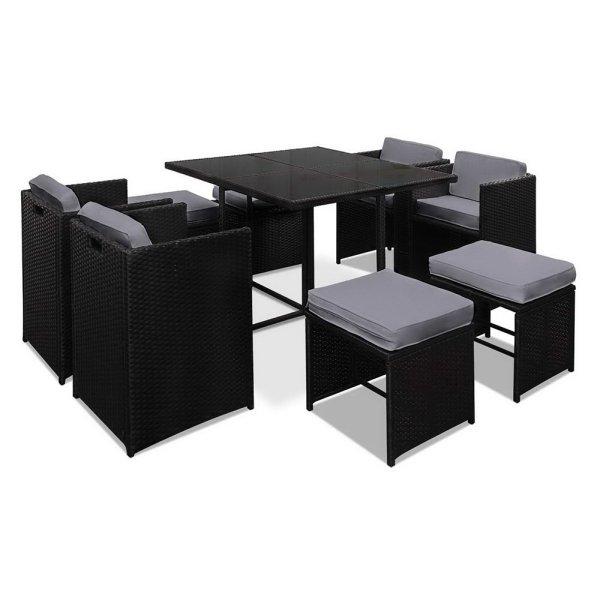 Gardeon 9 Piece Wicker Outdoor Dining Set - Black & Grey