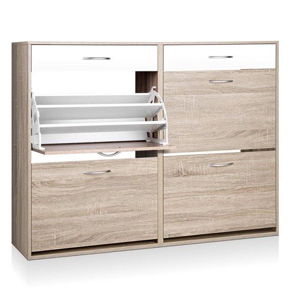 Artiss 2 Tier Shoe Cabinet - Wood