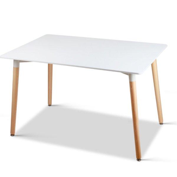 Artiss Rectangular Beech Timber Dining Table - White