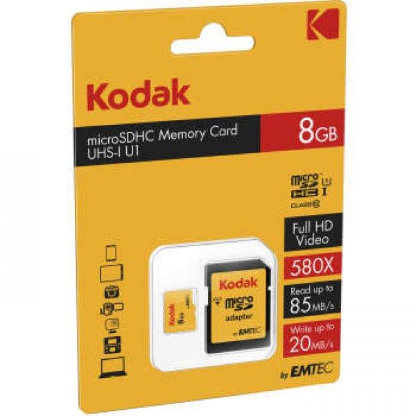 کارت حافظه microSDHC کداک مدل UHS-I U1 کلاس 10 سرعت 85MBps همراه با آداپتور ظرفیت 8 گیگابایت
