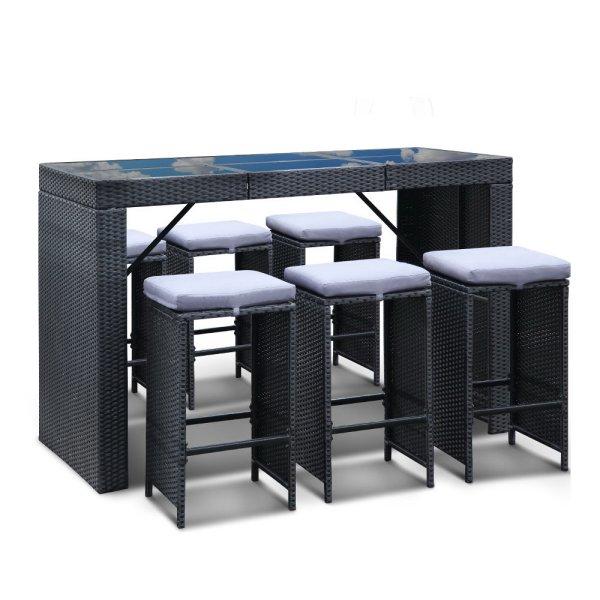 Gardeon 7 Piece Outdoor Dining Table Set - Black