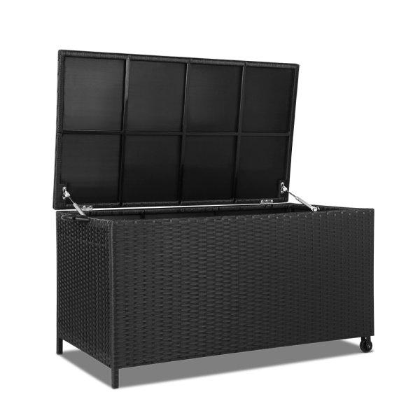 Gardeon 320L Outdoor Wicker Storage Box - Black