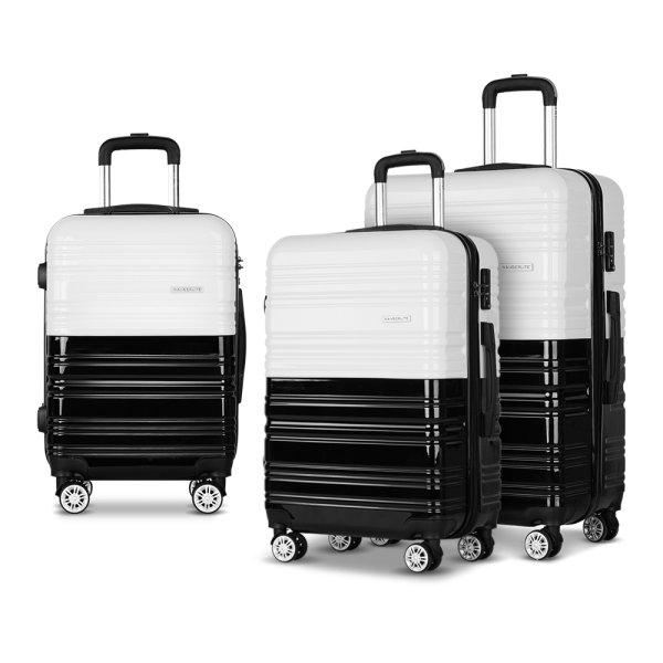 Wanderlite 3 Piece Lightweight Hard Suit Case Luggage Black & White