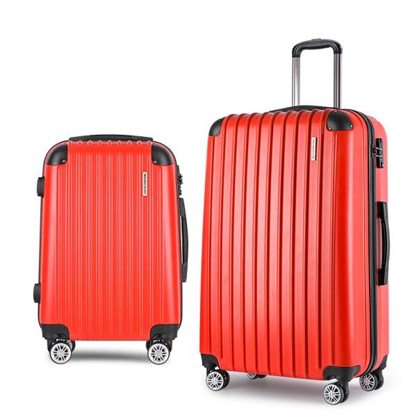 Wanderlite 2 Piece Lightweight Hard Suit Case Luggage Red
