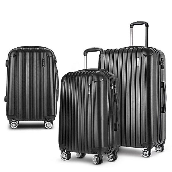 Wanderlite 3 Piece Lightweight Hard Suit Case Luggage Black
