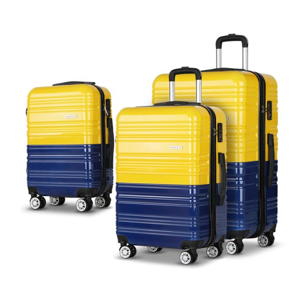 Wanderlite 3 Piece Lightweight Hard Suit Case Luggage Yellow and Navy