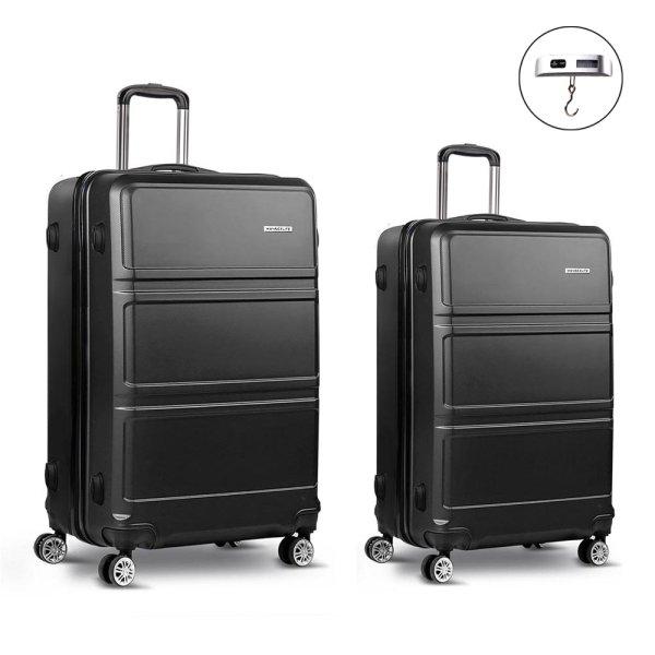 Wanderlite 2 Piece Lightweight Hard Suit Case Luggage Black