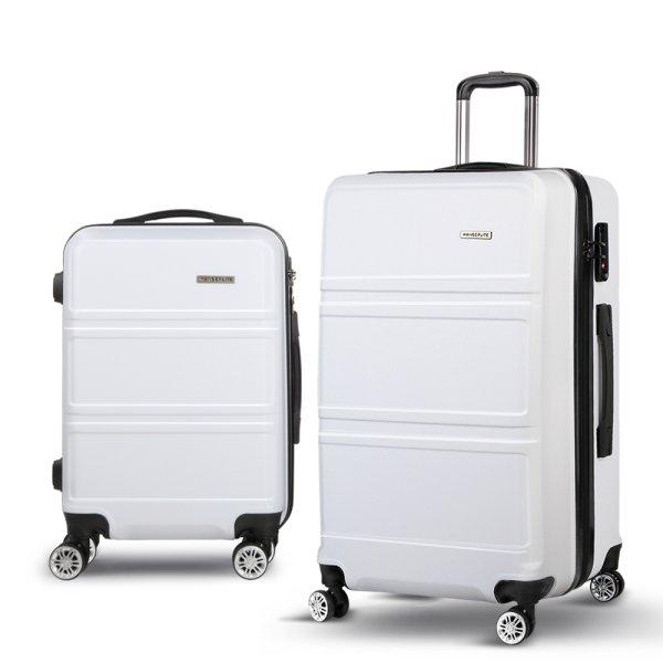 Wanderlite 2 Piece Lightweight Hard Suit Case Luggage White