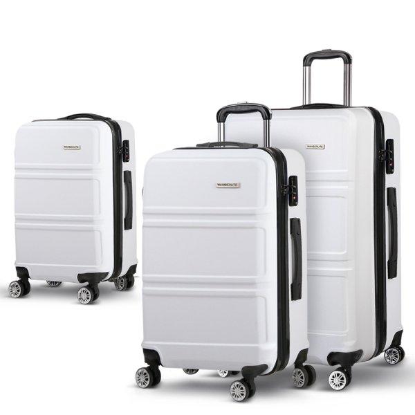Wanderlite 3 Piece Lightweight Hard Suit Case Luggage White