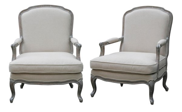 Wash White Louis XV Arm Chair