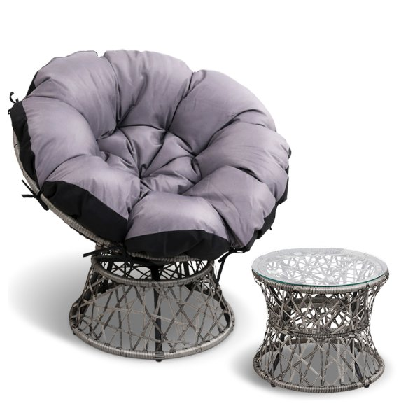 Gardeon Papasan Chair and Side Table - Grey