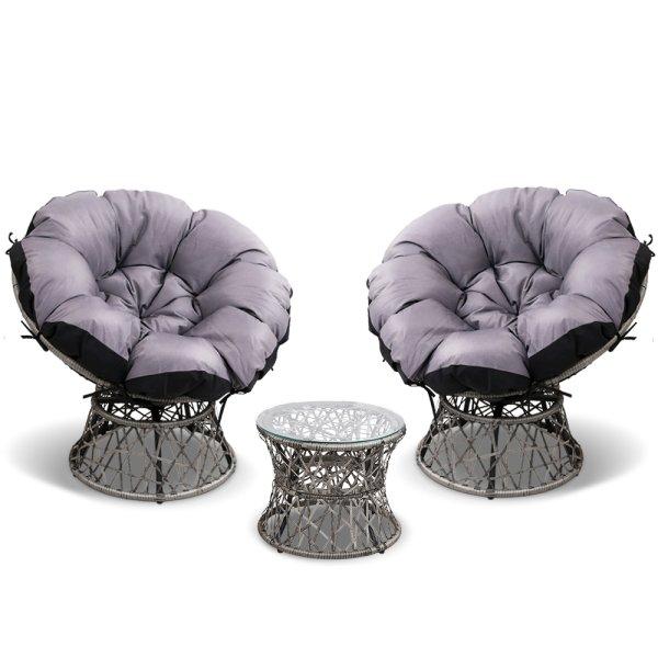 Gardeon Papasan Chair and Side Table Set- Grey