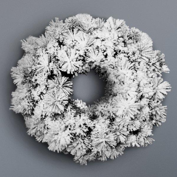 Jingle Jollys 60cm Christmas Snow Wreath Garland Window hanging Xmas Ornaments