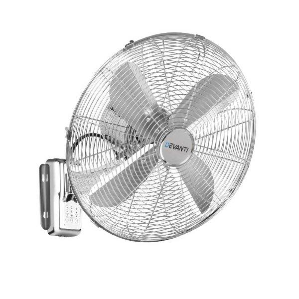 """Devanti 40cm 16"""" Wall Mountable Fan - Silver"""