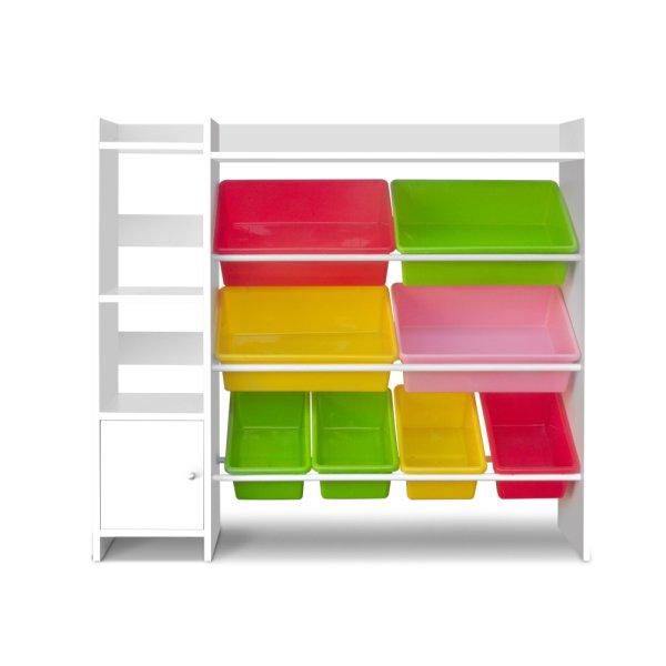 Keezi 8 Bins Kids Toy Box Storage Organiser Display Bookshelf Drawer Cabinet