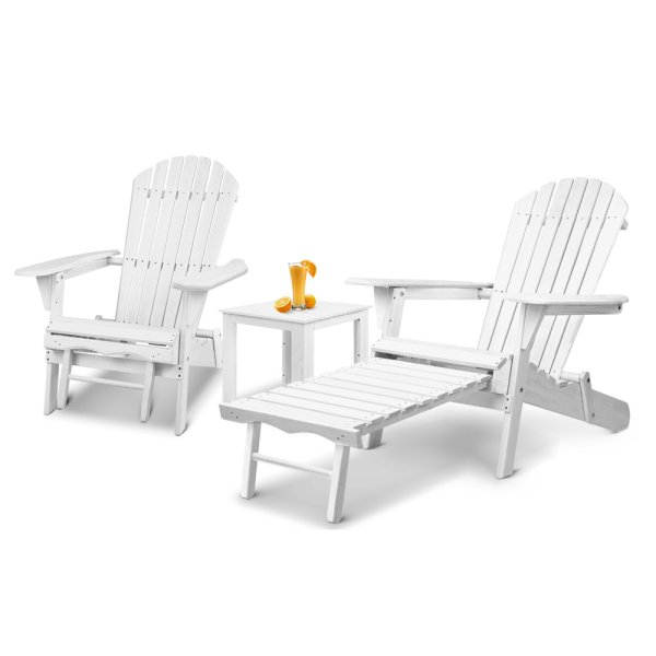 Gardeon 3 Piece Outdoor Adirondack Lounge Beach Chair Set - White