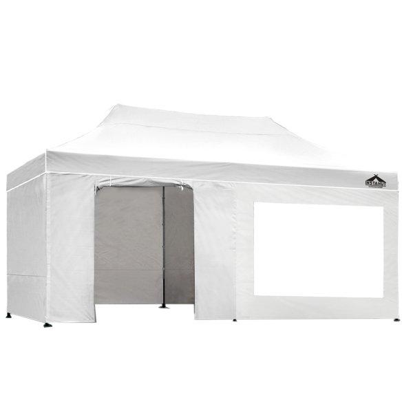 Instahut Aluminium Gazebo Pop Marquee Up 3x6m Outdoor Gazebos Wedding Tent White