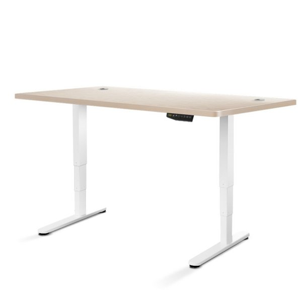 Artiss Height Adjustable Standing Desk Sit Stand Motorised Electric Roskos III White White Oak