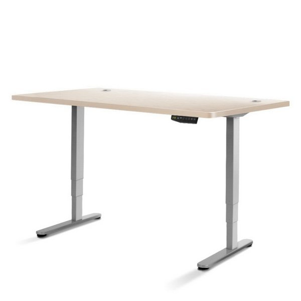 Electric Motorised Height Adjustable Standing Desk - Grey Frame with 160cm White Oak Top