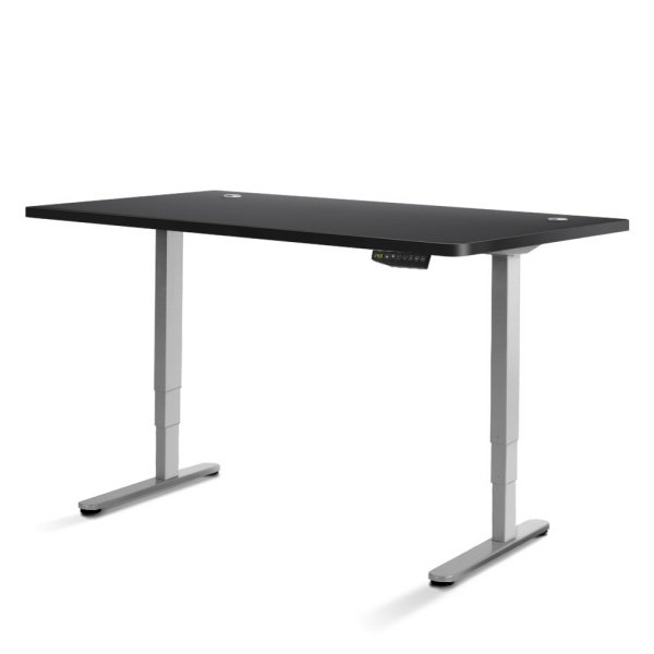 Electric Motorised Height Adjustable Standing Desk - Grey Frame with 160cm Black Top