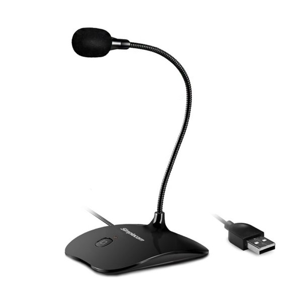 Simplecom UM350 Plug and Play USB Desktop Microphone with Flexible Neck and Mute Button