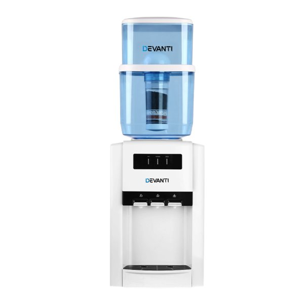 Devanti 22L Bench Top Water Cooler Dispenser Filter Purifier Hot Cold Room Temperature Three Taps