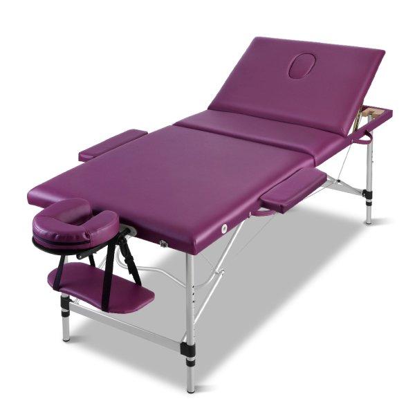 Zenses 3 Fold Portable Aluminium Massage Table Massage Bed Beauty Therapy Purple 75cm