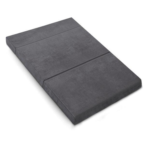 Giselle Bedding Double Size Folding Foam Mattress Portable Bed Mat Velvet Dark Grey