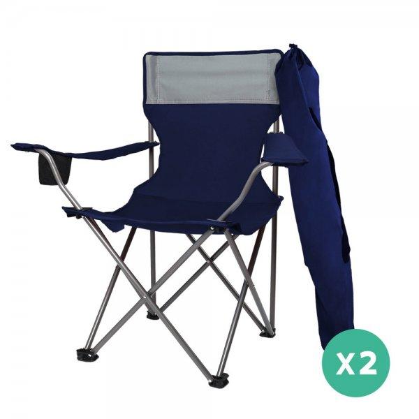WEISSHORN Set of 2 Folding Camping Chairs Armchair Garden Fishing Chair Navy
