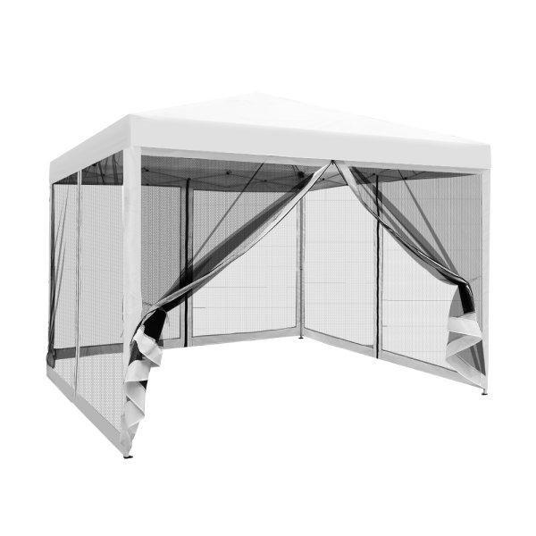 Instahut Gazebo Pop Up Marquee 3x3m Wedding Mesh Side Wall Outdoor Gazebos White