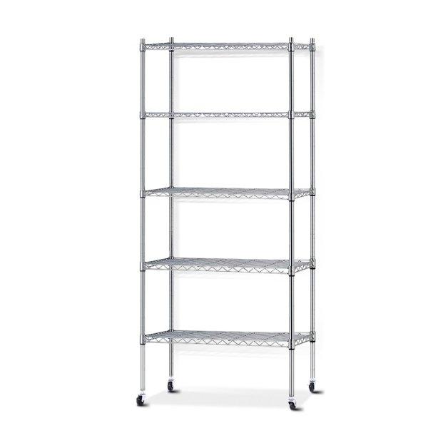 90cm 5 Tier Metal Wire Rack Shelving Unit Chrome Storage Shelves Racks Kitchen Trolley Silver